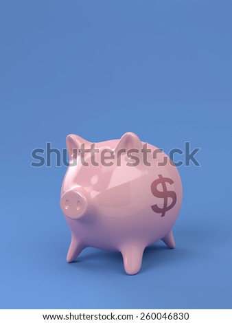 A Render of A Pink Piggy Bank On A Blue Background - stock photo