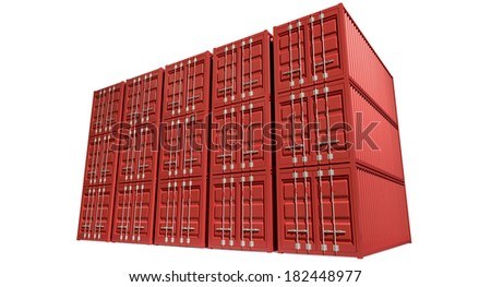 A render of a stack of fifteen red shipping containers on an isolated white background