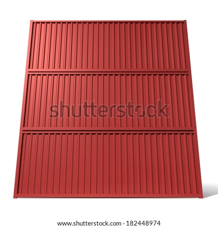 A render of a stack of three red shipping containers on an isolated white background - stock photo