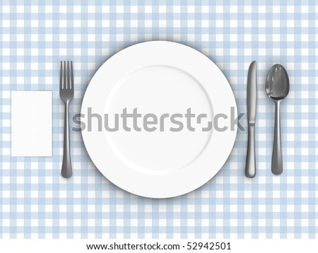 A render of a table setting over a tablecloth - stock photo
