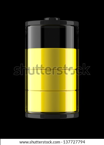 A render of an icon of a charge of a battery - stock photo