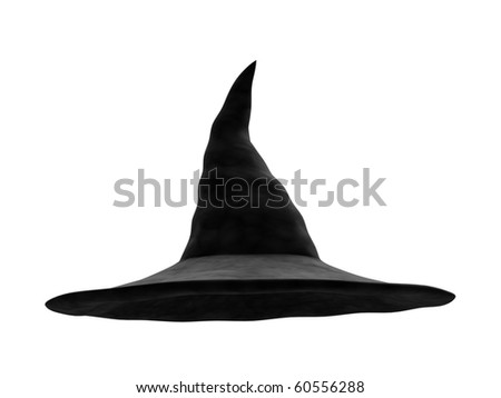A render of an isolated classic witch hat - stock photo
