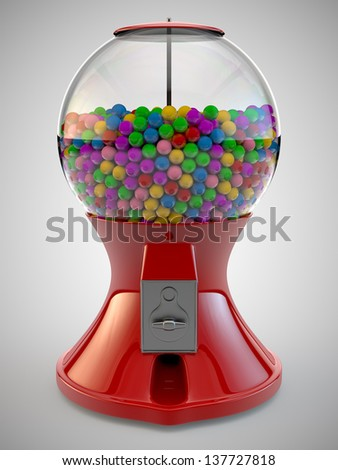 A Render of colorful gumball red machine - stock photo