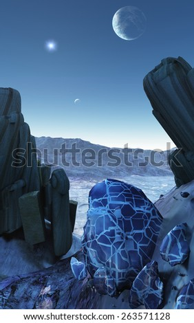 A render showing extraterrestrial alien planet covered in ice and rock formations with its moon in the blue sky - stock photo