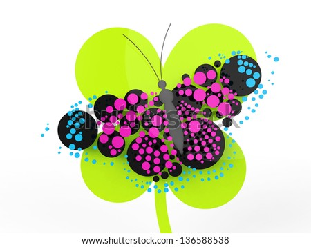 A rendered butterfly composed mostly of circles. Can be used as a logo or icon. - stock photo