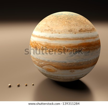 A rendered comparison between the Jupitermoons, the Earth Moon and the Saturn Moon Titan. In order of their size (large to small): Ganymede, Titan, Callisto, Io, Earth-Moon, Europa. - stock photo