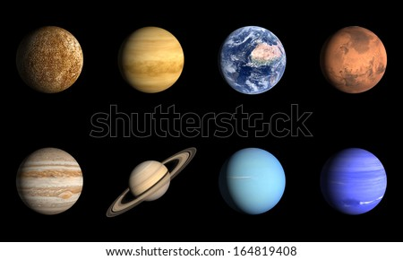 A rendered comparison Image of the Planets of our Solar System with english. - stock photo