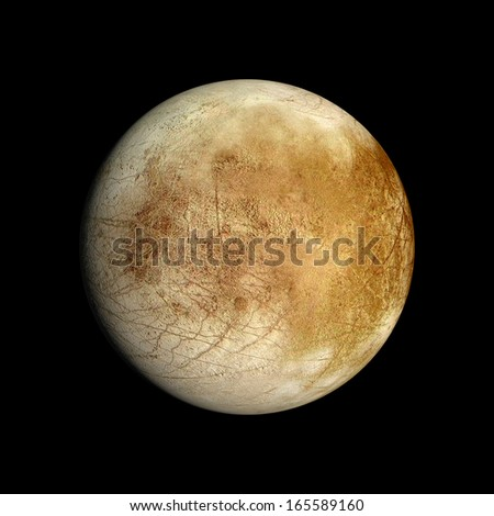 A rendered Image of the Jupiter Moon Europa on a clean black background. - stock photo