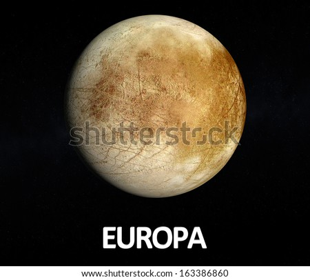 A rendered Image of the Jupiter Moon Europa on a starry background with english caption. - stock photo