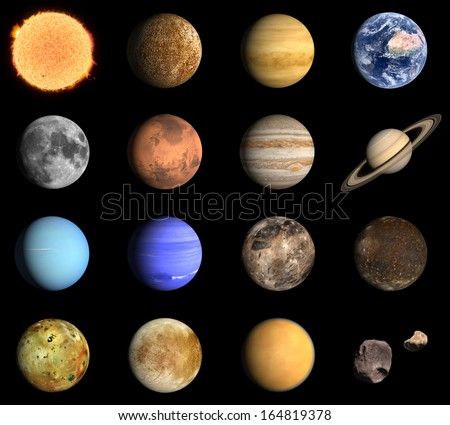 A rendered Image of the Planets and some Moons of our Solar System. - stock photo