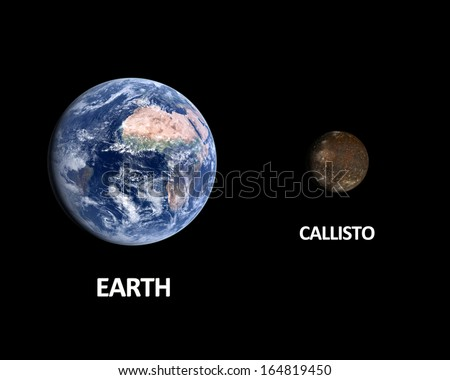 A rendered size comparison of the Jupiter Moon Callisto and Planet Earth on a clean black background with english captions.