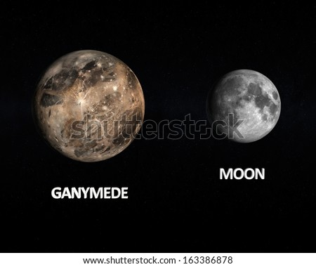 A rendered size comparison of the Jupiter Moon Ganymede and the Earth Moon on a starry background with english captions.