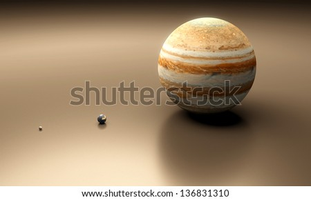 A rendered size-comparison sheet between the Planet Earth, Earth-Moon and Planet Jupiter. - stock photo