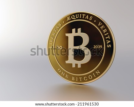 A rendering of a gold Bitcoin on a white background. - stock photo