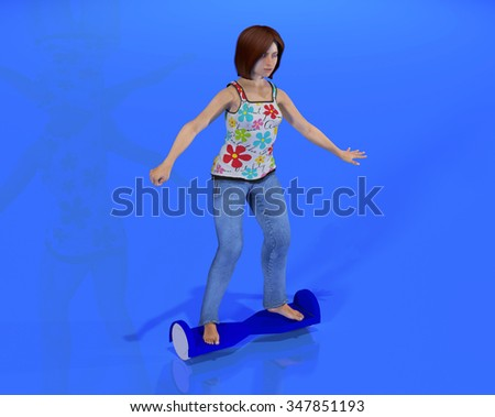 a rendering of a young girl riding a hoverboard