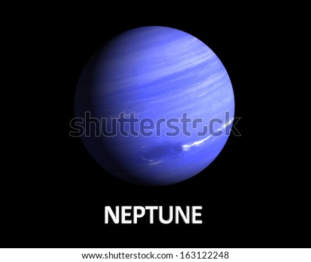 A rendering of the Gas Planet Neptune on a clean black background with english caption. - stock photo