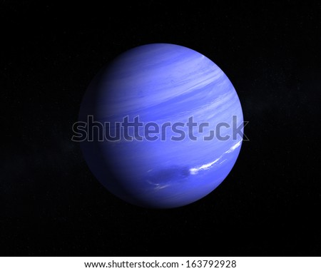 A rendering of the Gas Planet Neptune on a starry background.