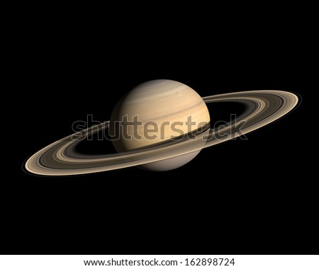 A rendering of the Gas Planet Saturn with its majestic ring-system on a clean black background. - stock photo