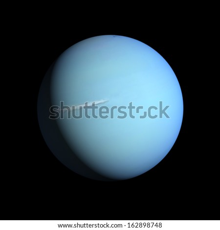 A rendering of the Gas Planet Uranus on a clean black background. - stock photo