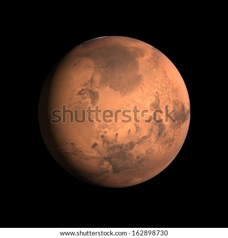 A rendering of the Planet Mars on a clean black background. - stock photo