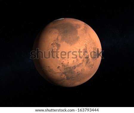 A rendering of the Planet Mars on a starry background. - stock photo