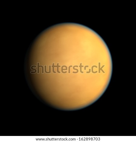 A rendering of the Saturn Moon Titan on a clean black background.