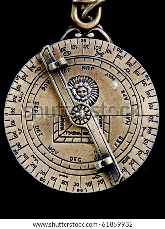 A replica of a medieval astrolabe which is a navigation instrument capable of 43 different astrononomical calculations.