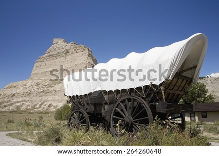 A replica of Covered wagon from Oregon Trail at Scotts Bluff National Monument, Scottsbluff, Nebraska - stock photo