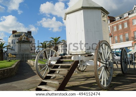 A replica of George III's bathing machine on the seafront in Weymouth.