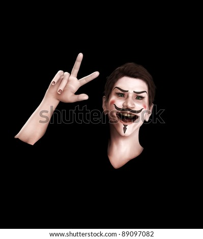 A representation of Guy Fawkes looking victorious. - stock photo