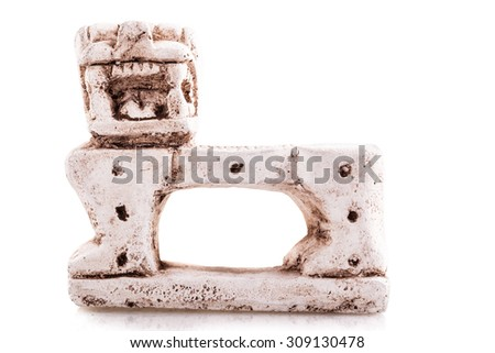 a reproduction of the the jaguar throne in the inner chamber of El Castillo isolated over a white background - stock photo
