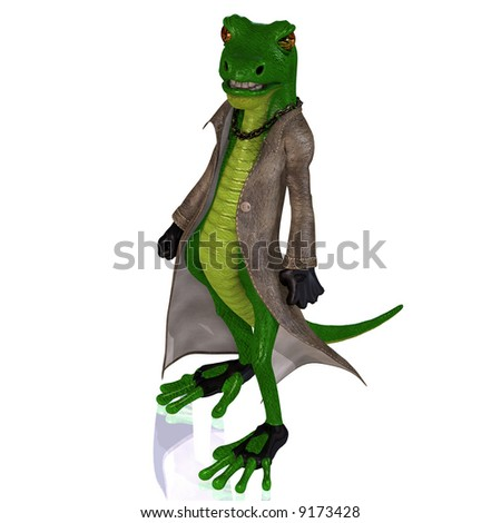 A Reptile in extraordinary situations Image contains a Clipping Path