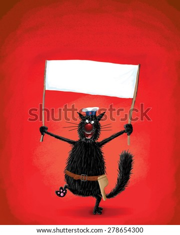 A resolute black cat with revolver holding a blank poster. A funny way to say your ideas - stock photo