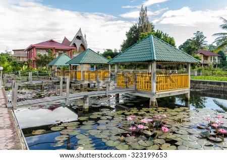 A resort on Samosir island in Lake Toba, Sumatra Indonesia