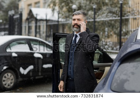 Handsome Man Beard Sits Expensive Car Stock Photo 732831883