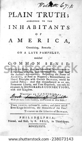 A response to Thomas Paine's Common Sense. Written by Candidus (James Chalmers). Printed and sold by R. Bell, in Third Street, Philadelphia, 1776.