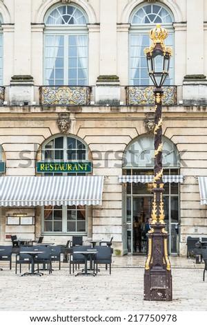 A restaurant on the Stanislas Square, Nancy, France - stock photo