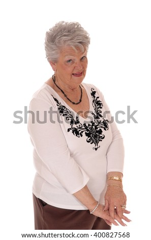 A retired senior woman looking at the camera in a sceptical look, can notbelief, isolated for white background. - stock photo