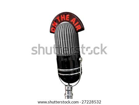 A retro antique microphone. - stock photo