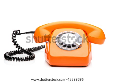 A retro orange phone isolated on white background