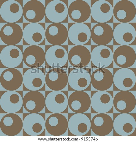 A retro, repeating pattern of circles in squares in blue and brown. Vector format also available.