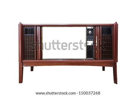 A retro television with a blank screen for text, isolated against white.  - stock photo