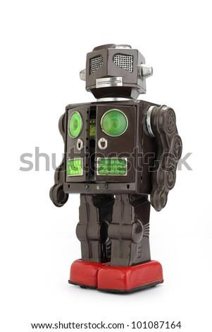 a  retro tin robot toy isolated on white background - stock photo