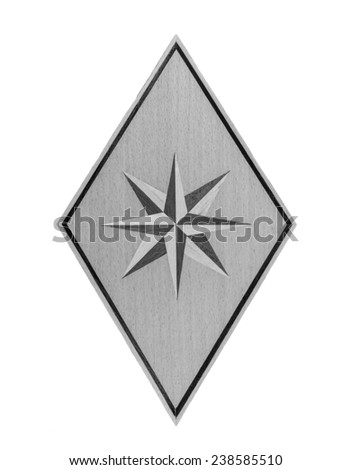 A rhombus and  Wood Eight-pointed star in monochrome isolated over white background - stock photo