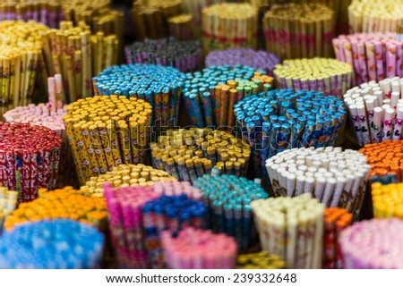 A rich variety of chopsticks in a small shop in Chinatown, Singapore - stock photo
