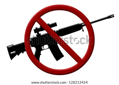 A rifle and a Not Allowed Symbol, Ban on rifles - stock photo