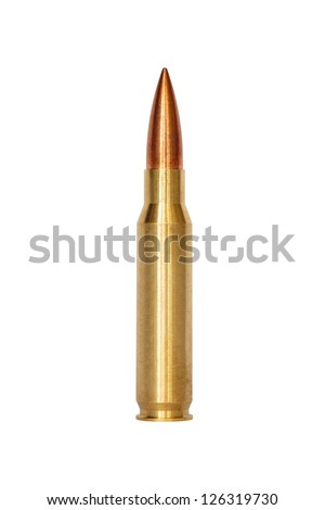A rifle bullet over white background - stock photo