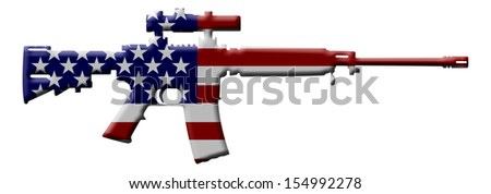 A rifle in the USA flag colors, Rifle weapon in the USA - stock photo