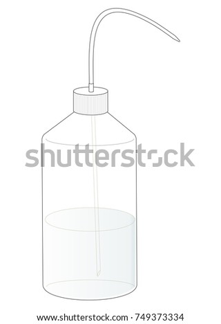 A rinsing or washing bottle for a chemistry laboratory.