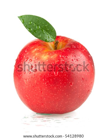 A ripe red apple with green leaf and water drops. Isolated on white background.